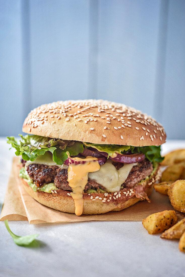 Kefta burger and potatoes