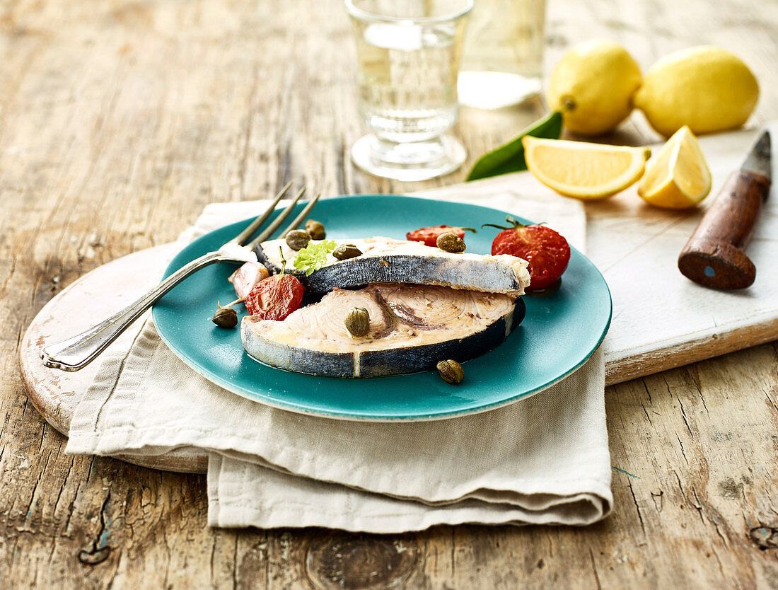 Swordfish with capers and white wine