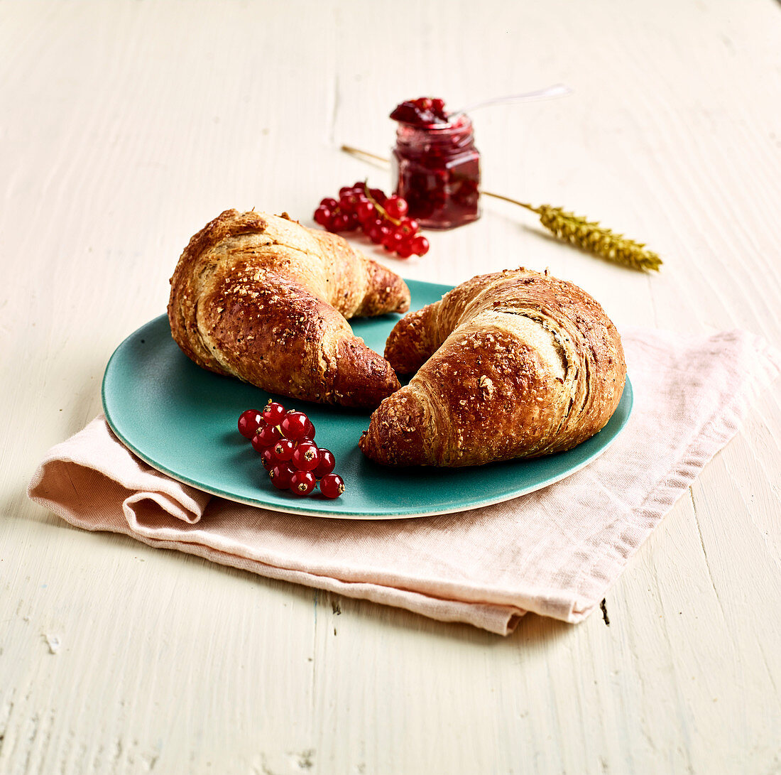 Croissants with redcurrant jam