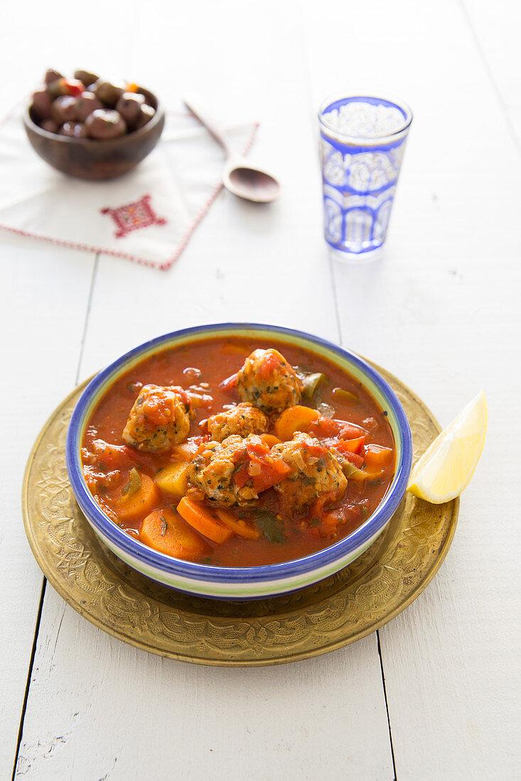 Fish Kefta Balls And Vegetable Tajine