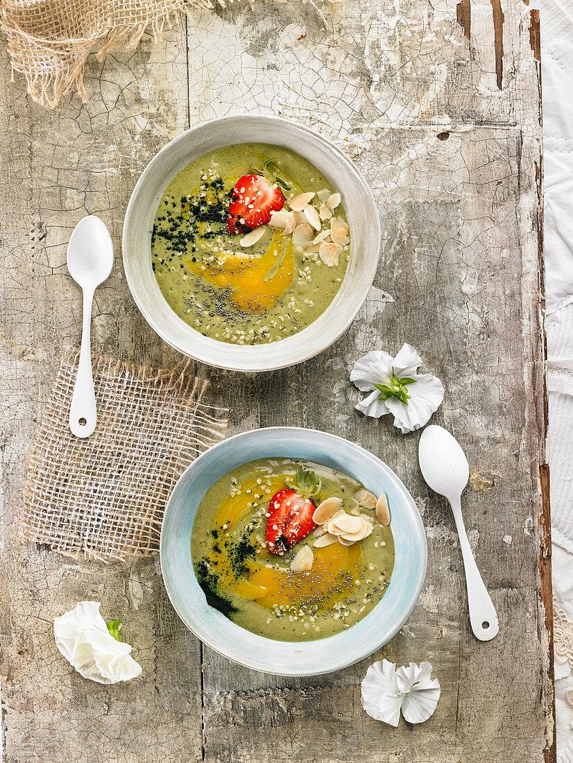Spirulina,Almond,Chia Seed And Strawberry Smoothie Bowl