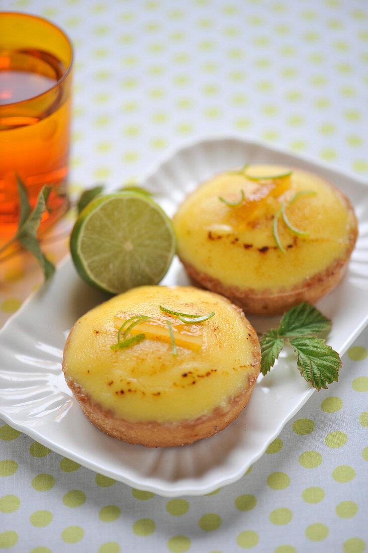 Lemon-lime and honey tartlets