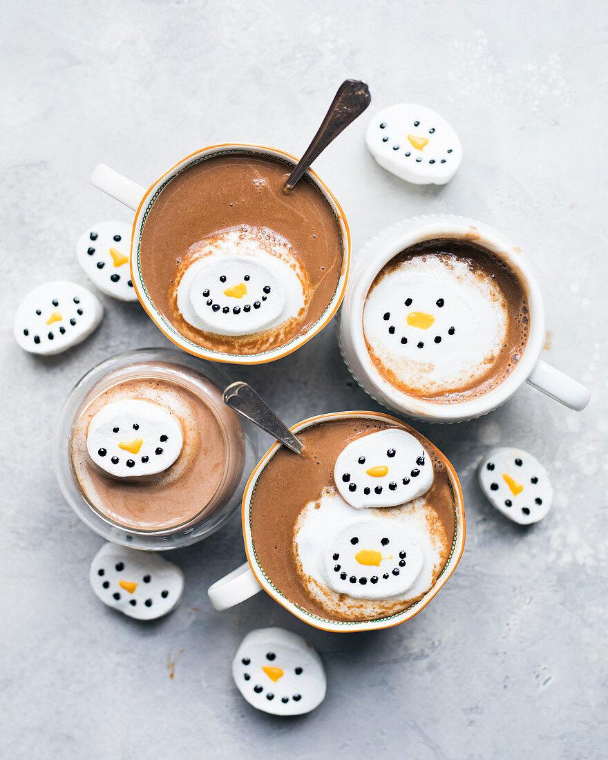 Snowmen hot chocolates