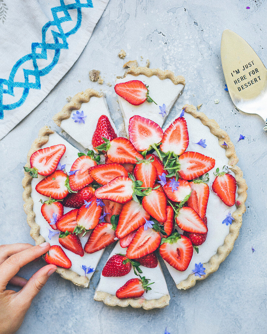 Fromage blanc and sliced strawberry tart