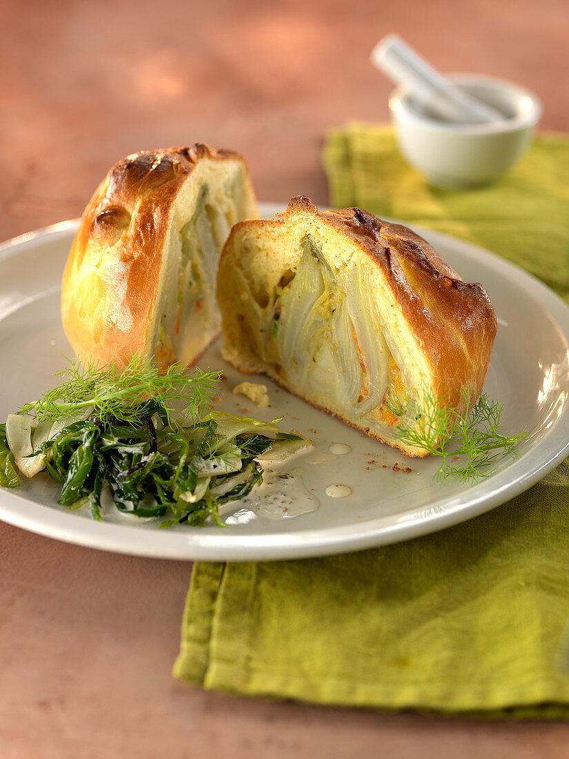 Stuffed fennel in brioche crust