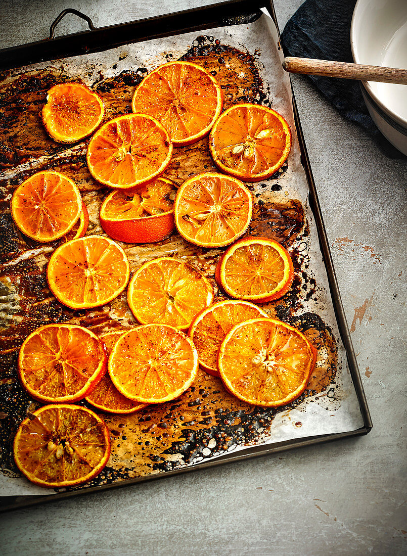 Orange slices roasted in the oven