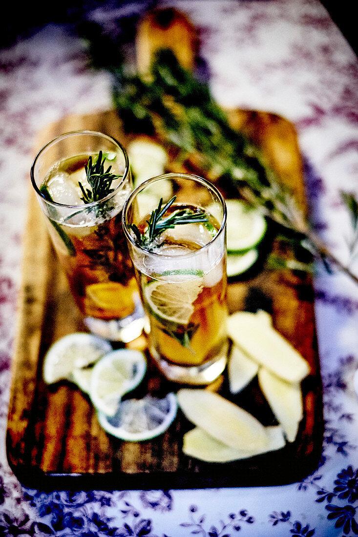 Cognac;lemon,ginger ad rosemary cocktail