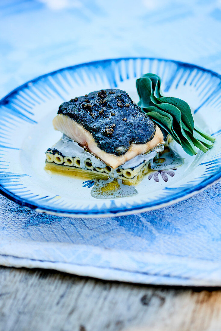 Sturgeon with Viennese almond and caviar butter,macaronis with caviar