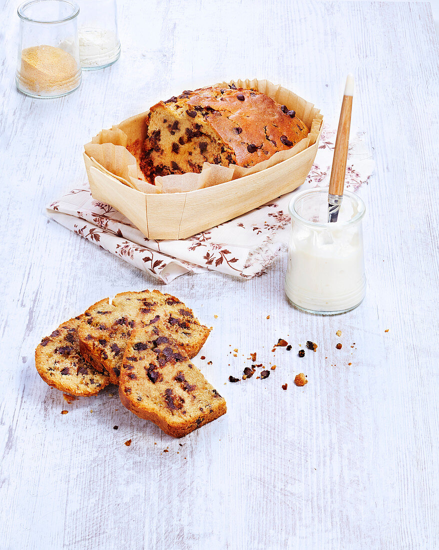 Lactose-free and butter-free chocolate chip yogurt cake