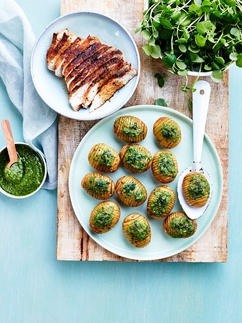 Braised Veal Tenderloin and Hasselback Potatoes with Pesto