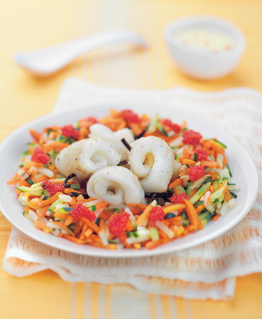 Halibut Fillet Rolls with Vanilla, Mixed Vegetables and Lump Eggs