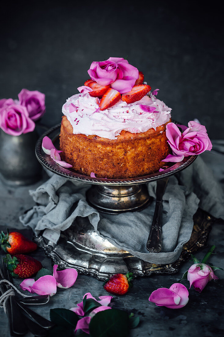 Beet Cake With A Strawberry Jam Swirl And Rosewater Buttercream