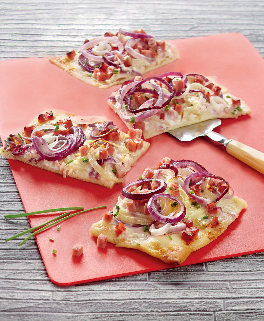Red Onion,Diced Bacon And Chive Flammeküeche
