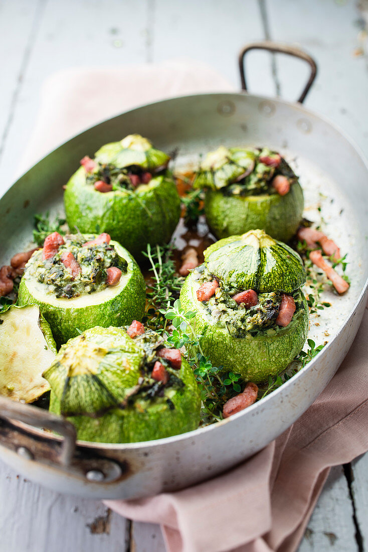 Round Courgettes Stuffed With Ricotta And Diced Bacon