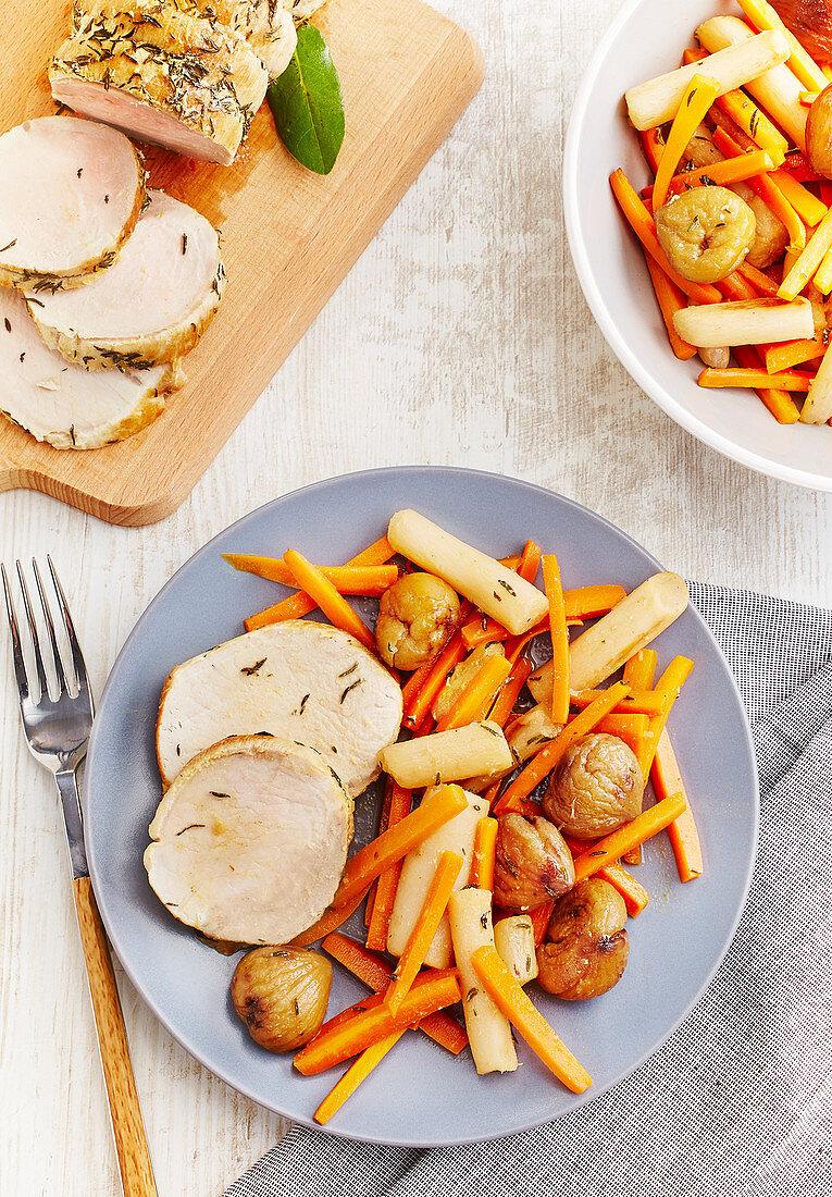 Pork Roast With Provençal Herbs And Autumn Vegetable