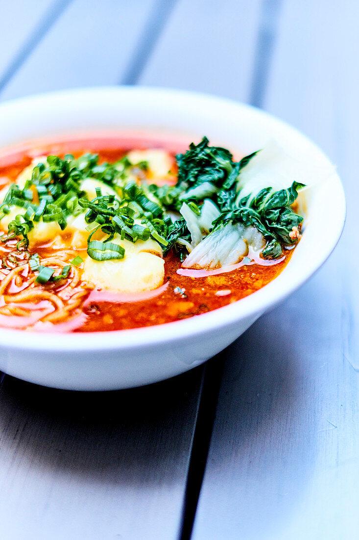 Spicy Ramen with Red Chilli, recipe by Chef Ivan Orkin, Ivan Ramen Restaurant, New York