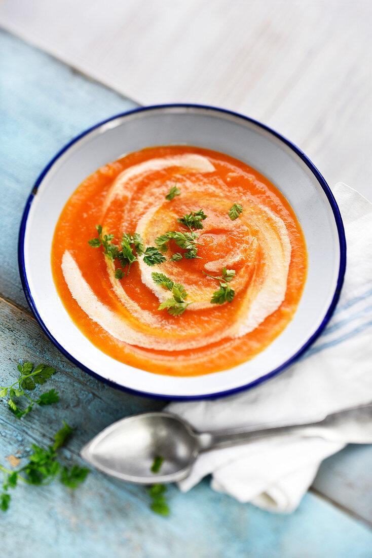 Cream Of Carrot,Celeriac And Coconut Milk Soup