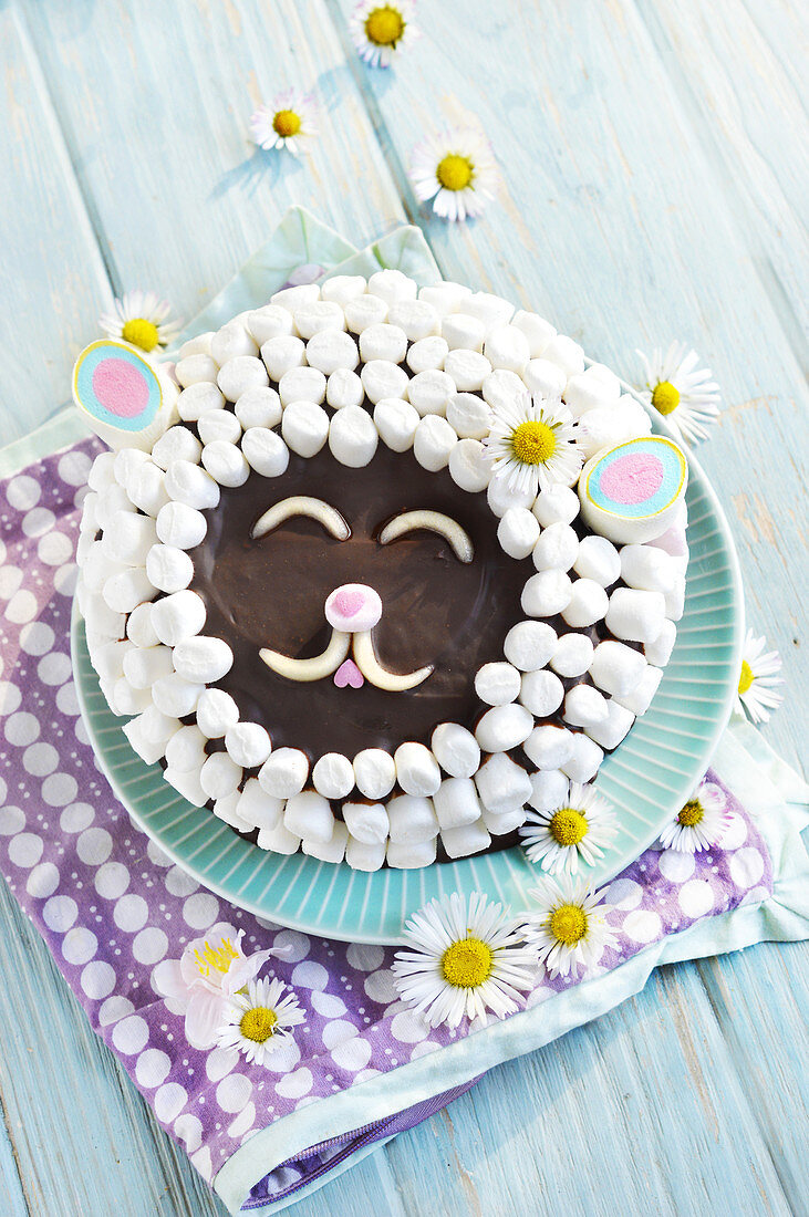 Easter Lamb-Faced Cake