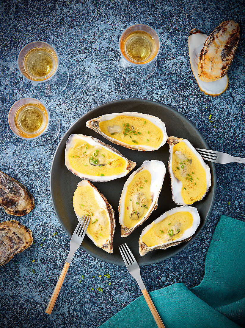 Oysters grilled with sabayon