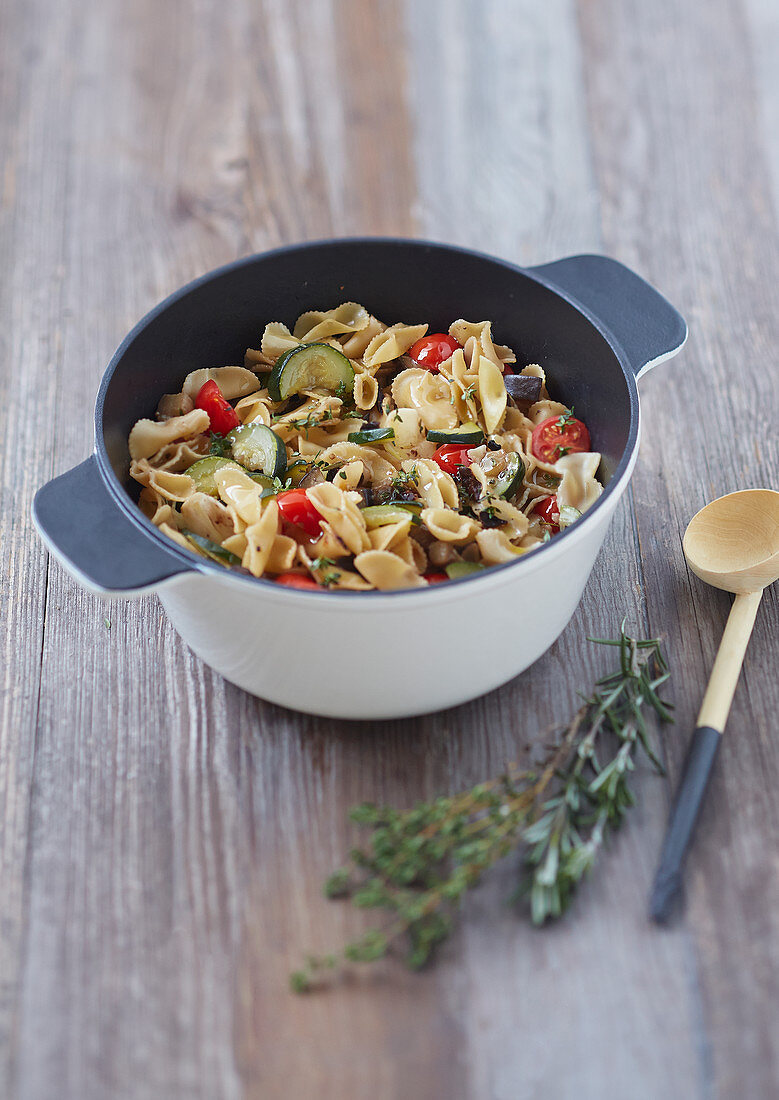 Pasta with courgettes,cherry tomatoes and rosemary