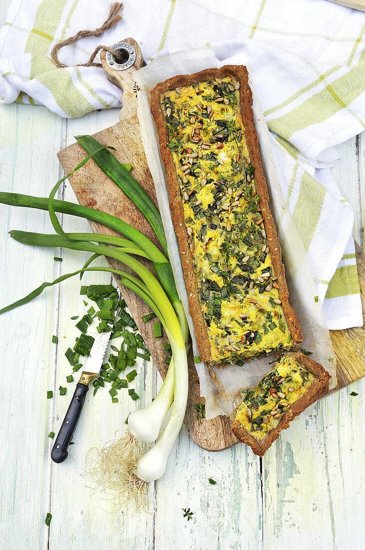 Spring onion quiche