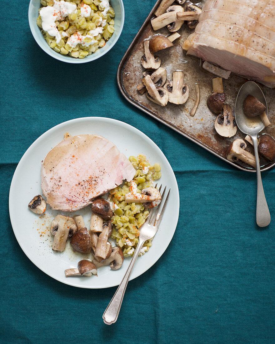 Pork roast with mushroom and orecchiette