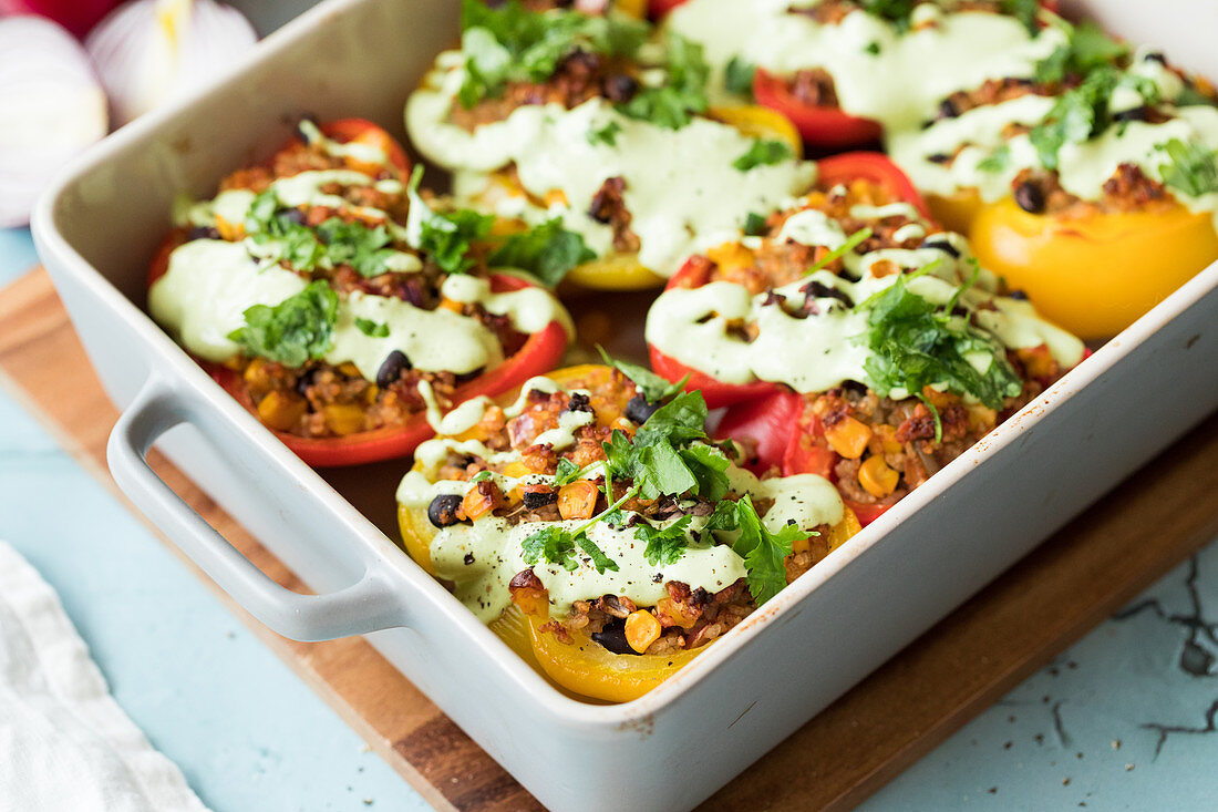 Peppers with rice stuffing