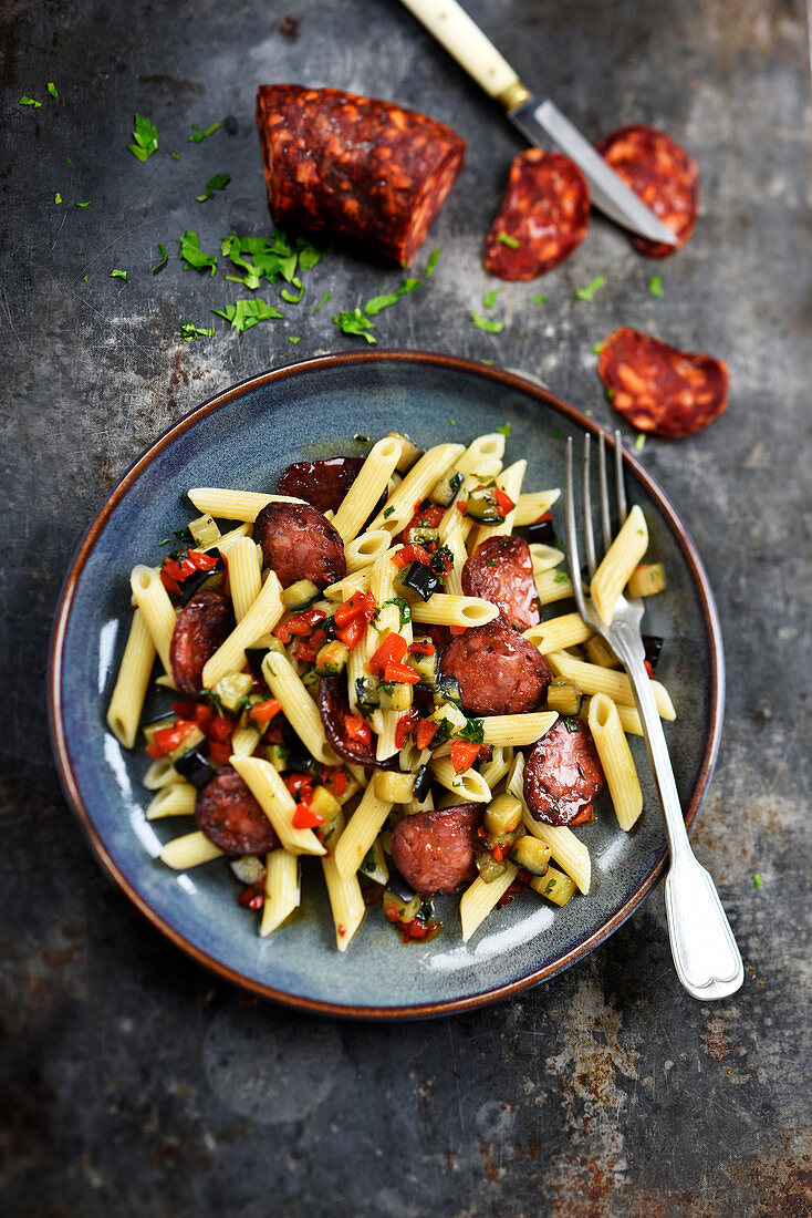 Penne with chorizo,eggplants and peppers