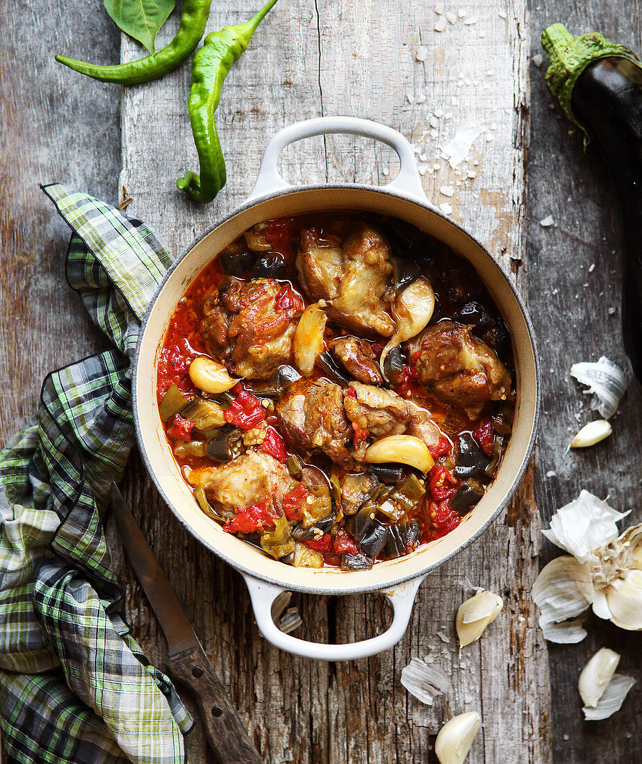 Shoulder of lamb and aubergine stew