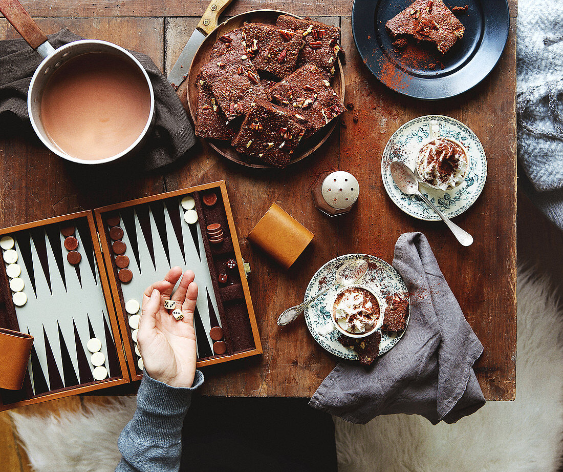 Teatime ambiance on a table with Backgammon