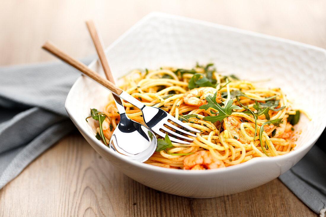 Spaghettis with shrimps