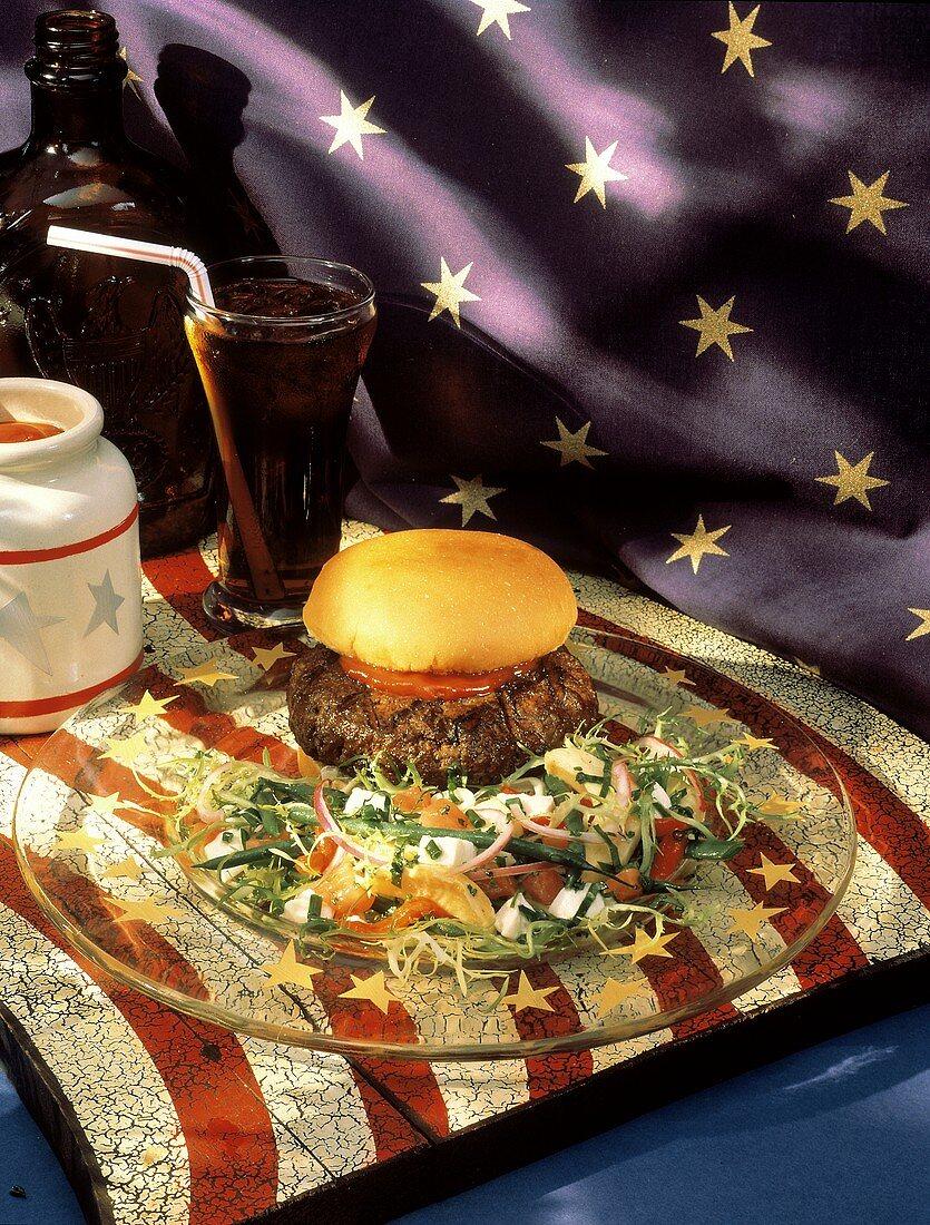 Grilled Hamburger on Bun with Salad