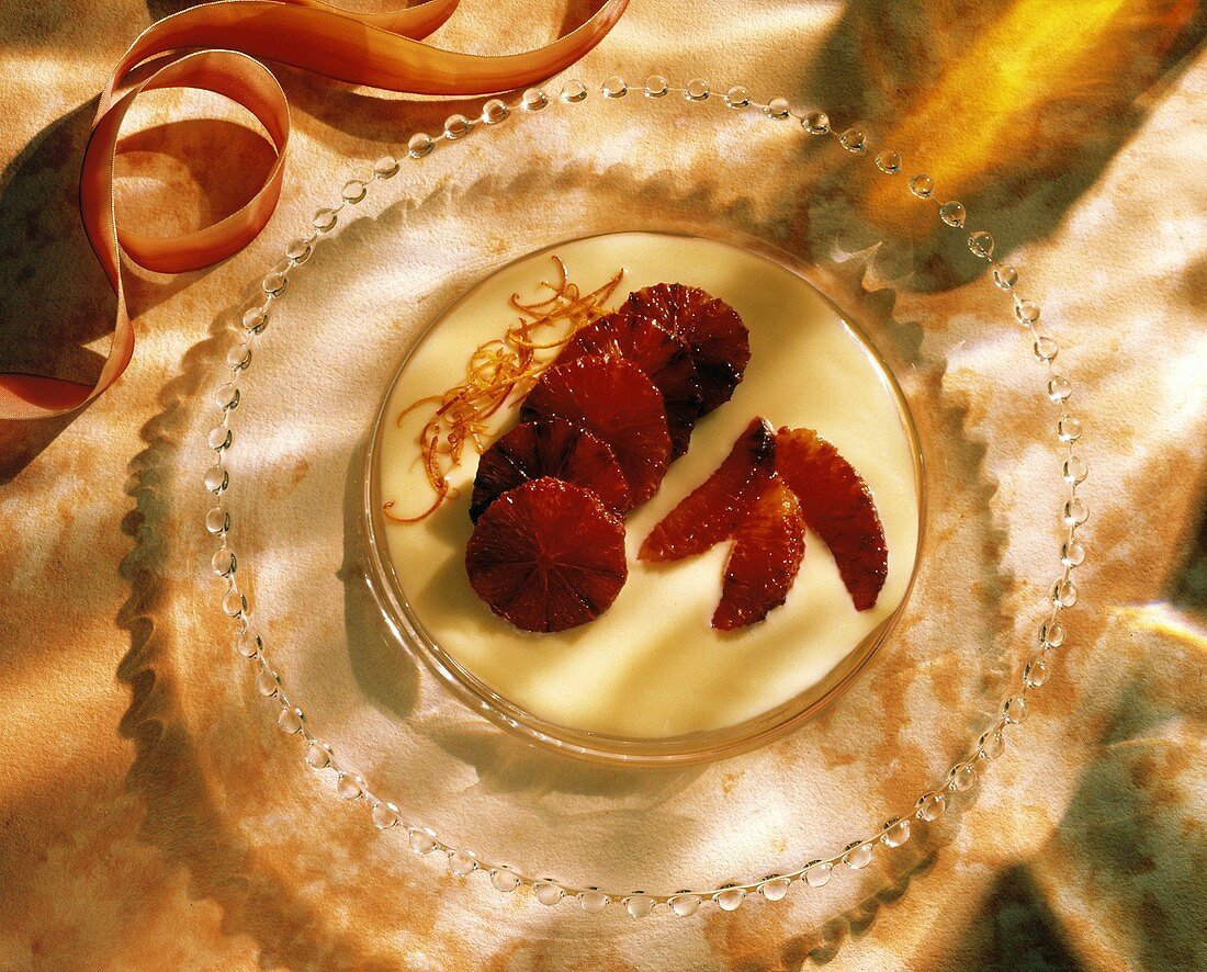 Sliced Blood Oranges; White Chocolate Sauce