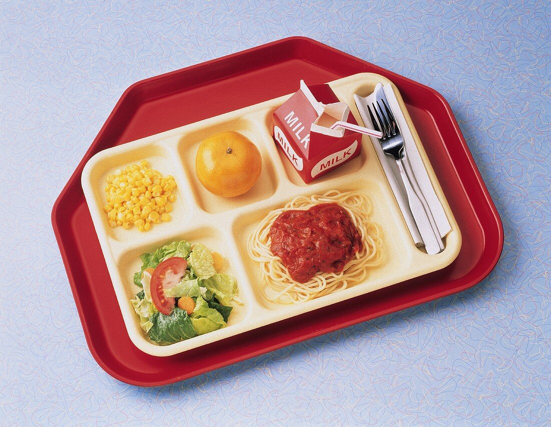 School Lunch with Spaghetti and Salad; Cafeteria