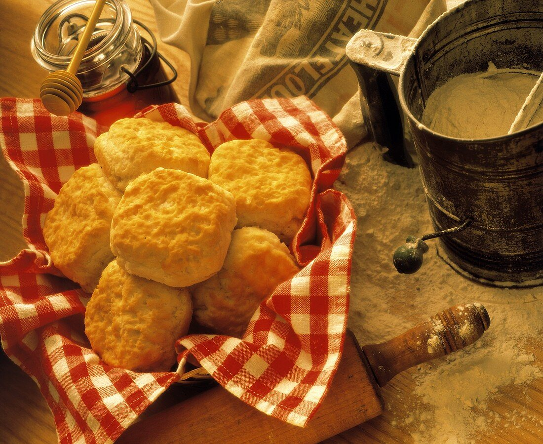 Biscuits in Basket with Checkered Red Napkin