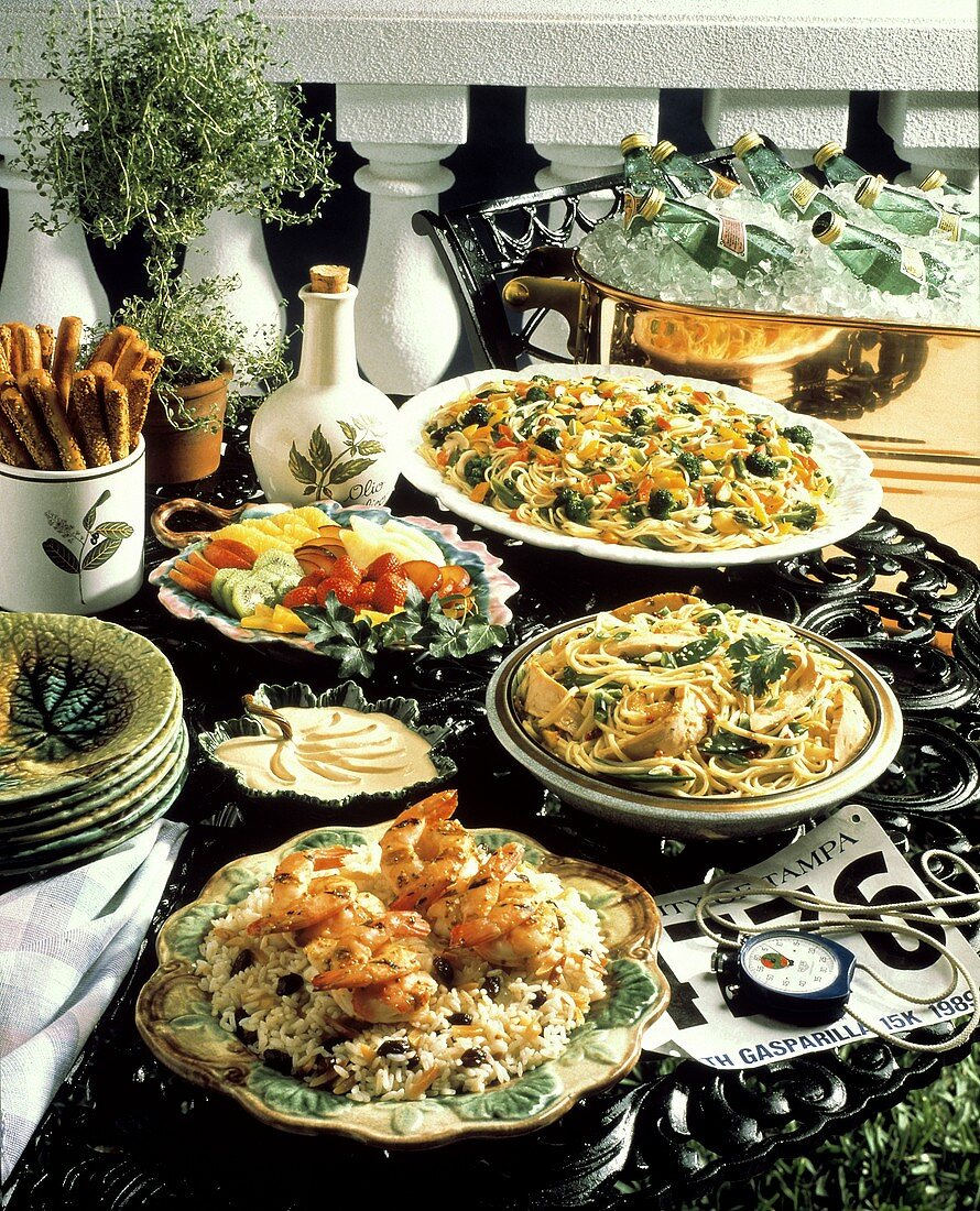 Runner's Buffet with Shrimp and Pasta; Fruit
