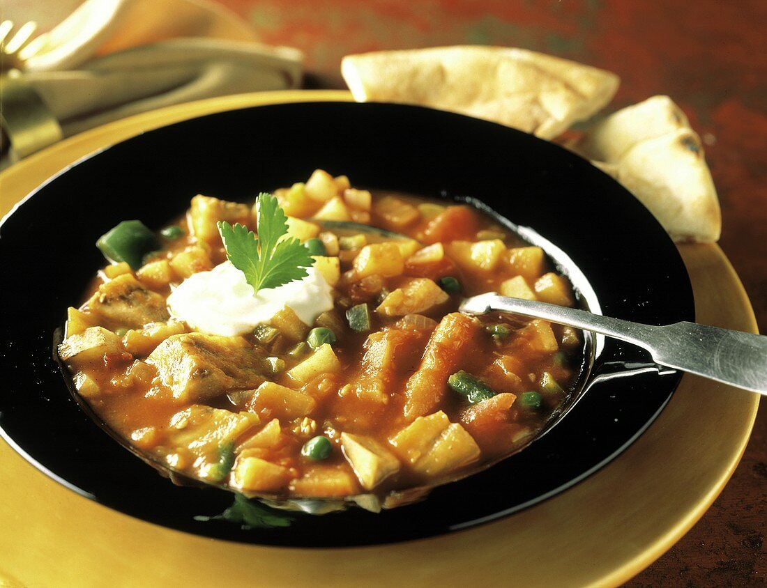 Curried Vegetable Soup with Sour Cream