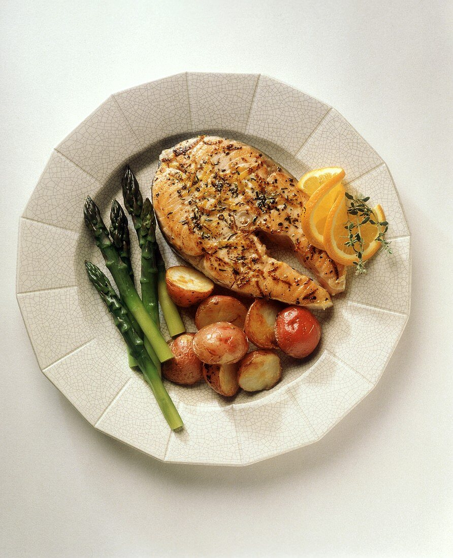 Salmon Steak with Red Potatoes and Asparagus