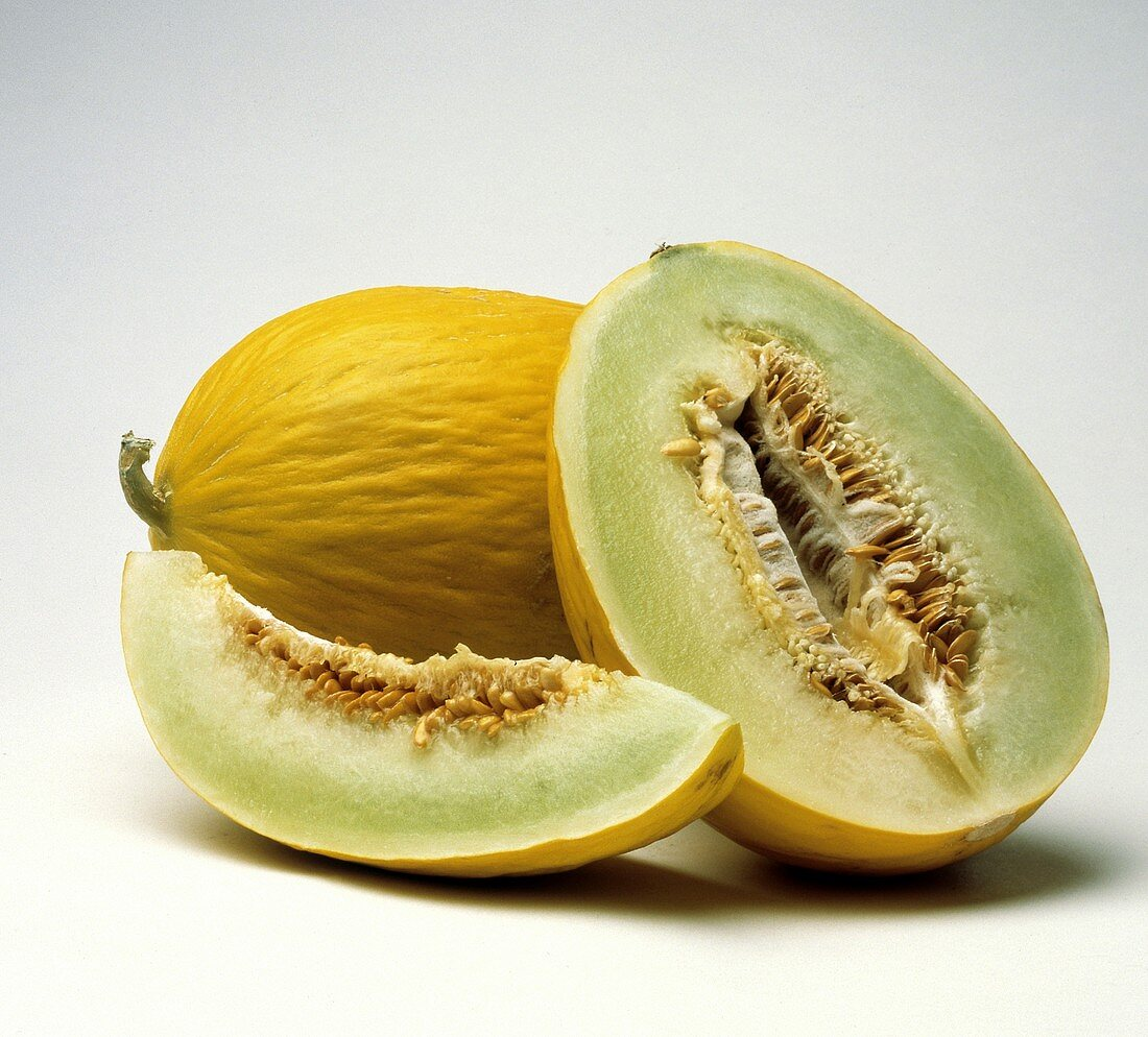Canary Melon with Half and Wedge