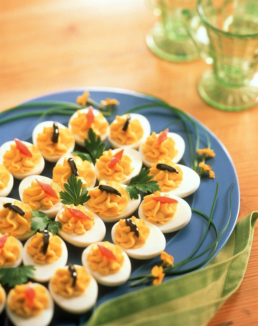 Deviled Eggs on Blue Platter