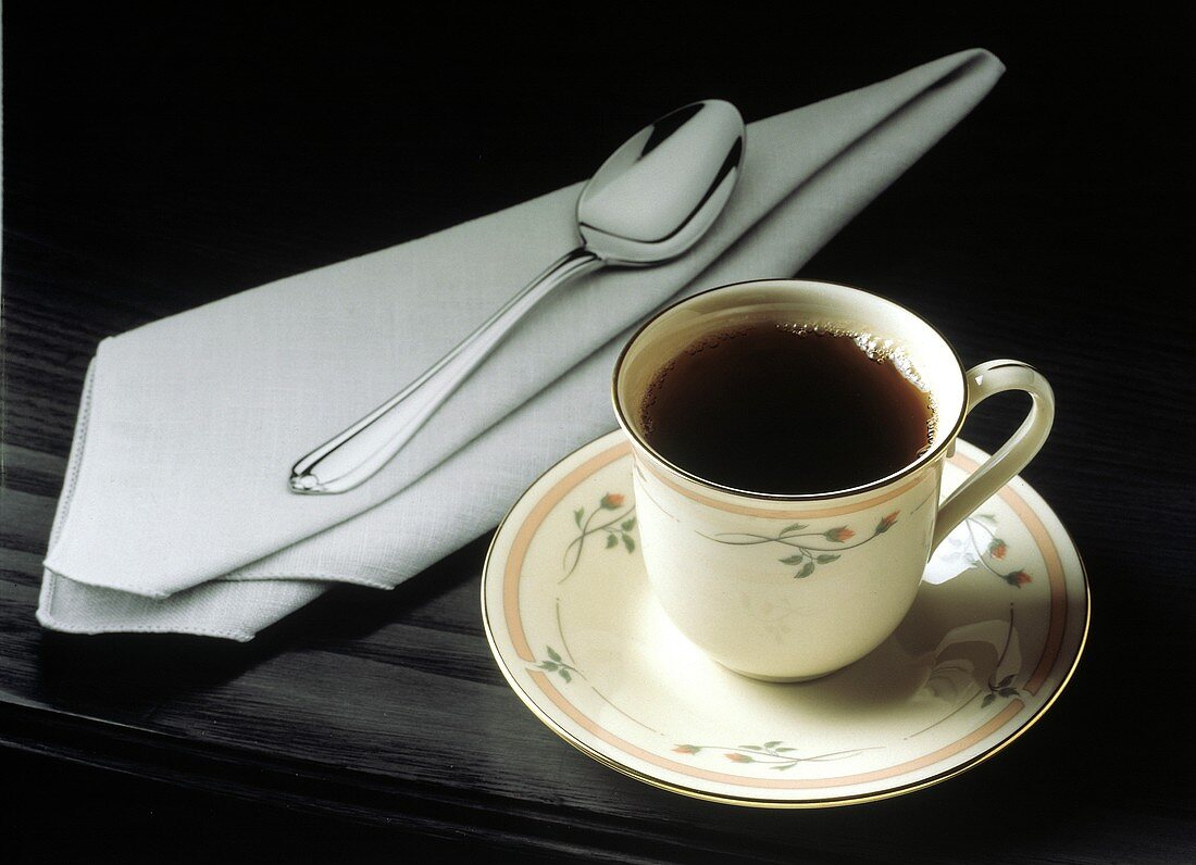 Cup of Tea with Napkin and Spoon