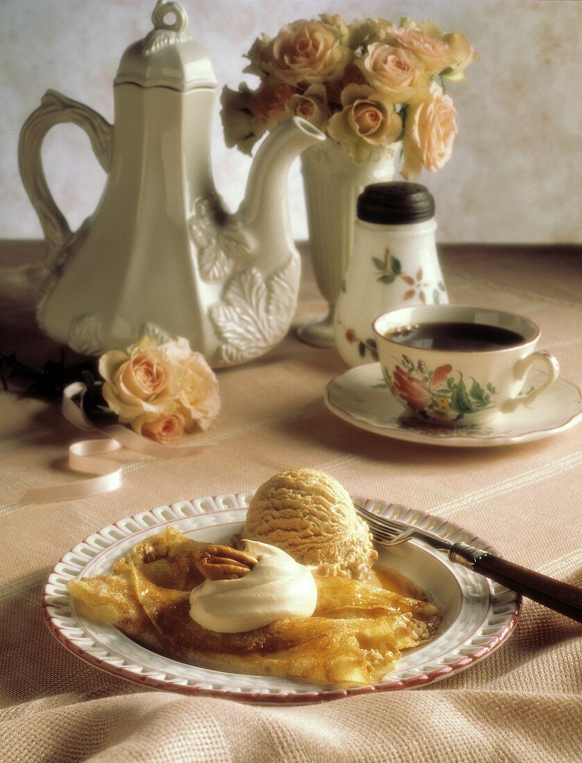 Crepes with Coffee Ice Cream and Whipped Cream