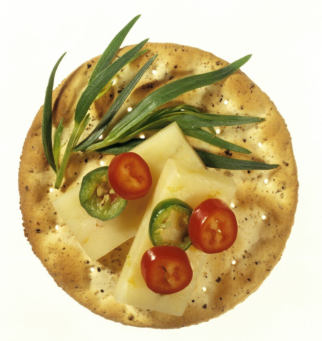 Cracker with Cheese and Sliced Jalapenos