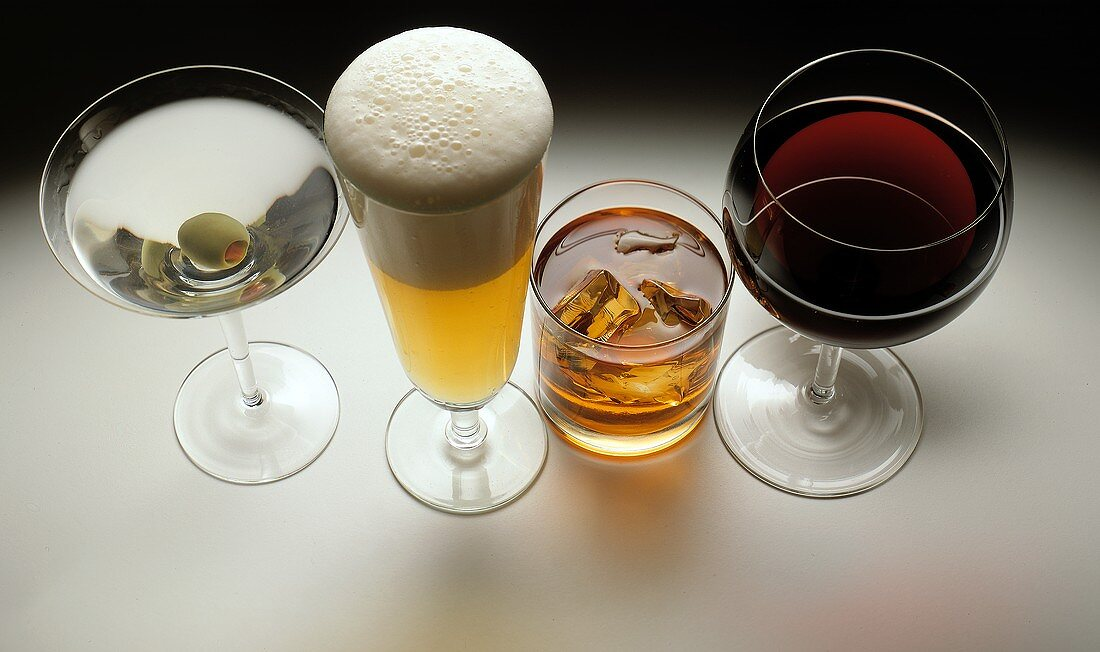 Four Alcoholic Beverages: Martini, Beer, Scotch, Red Wine