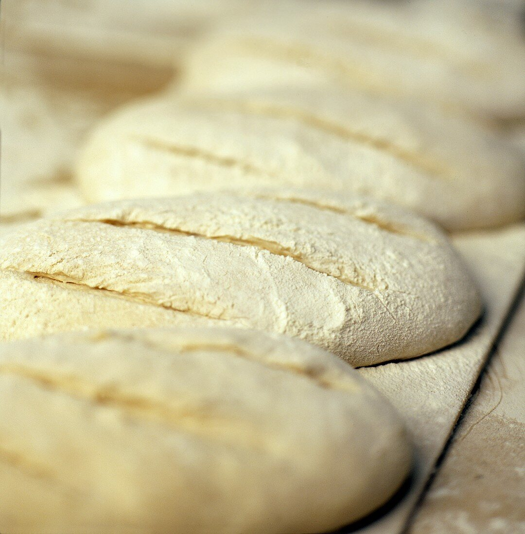 Uncooked Loaves of Bread with Flour