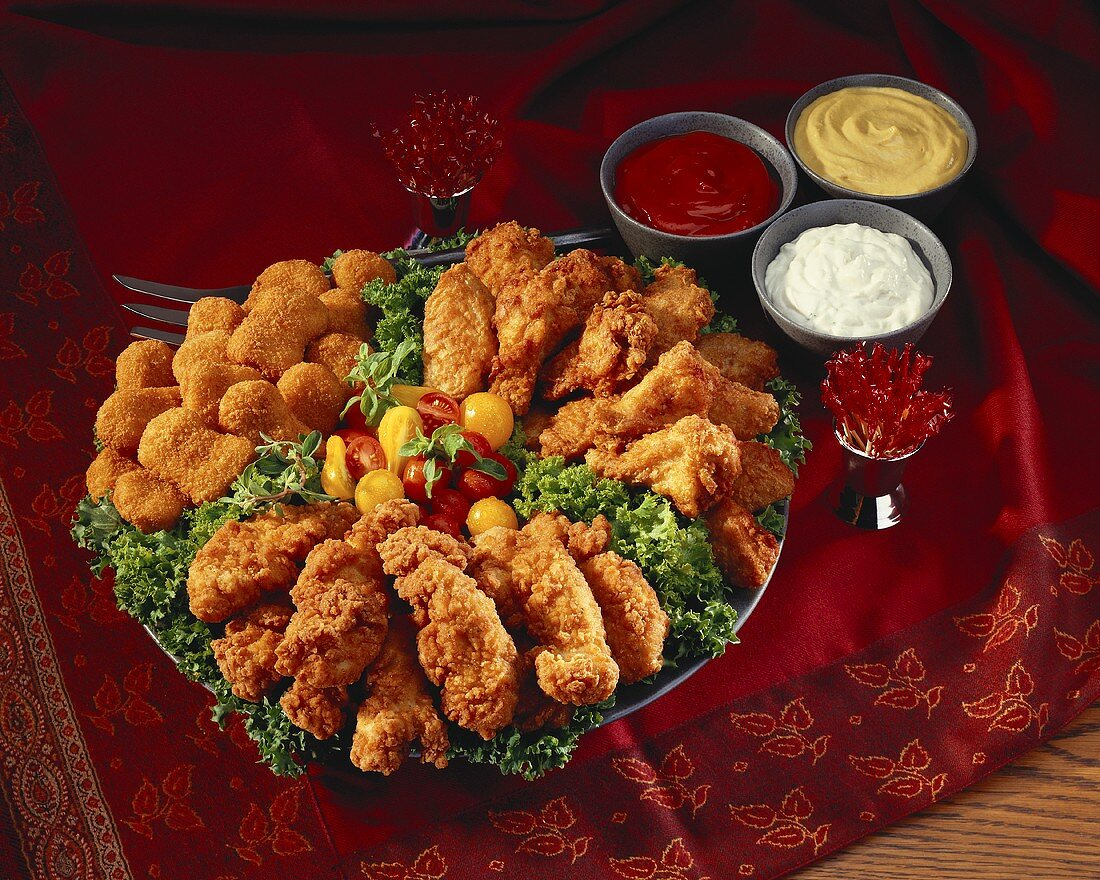 Chicken Appetizer Platter; Dips; Cocktail Sticks