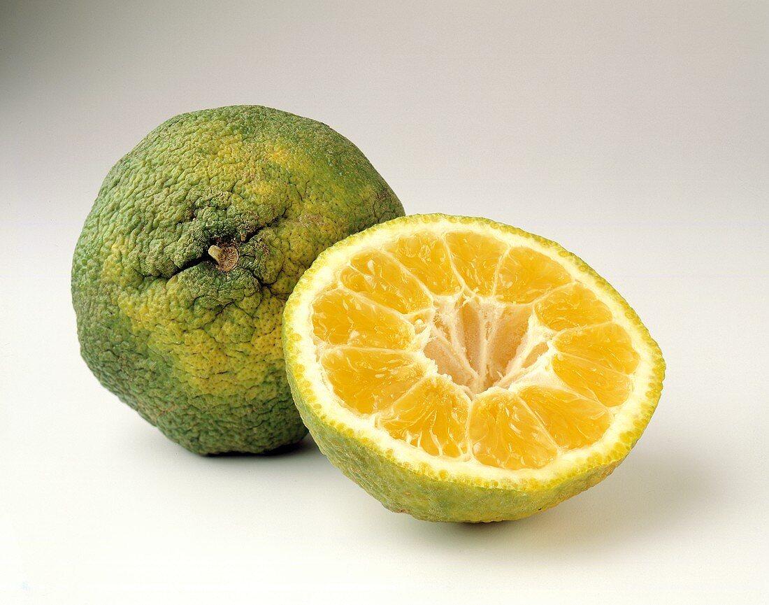 Ugli Fruit: Whole and Half