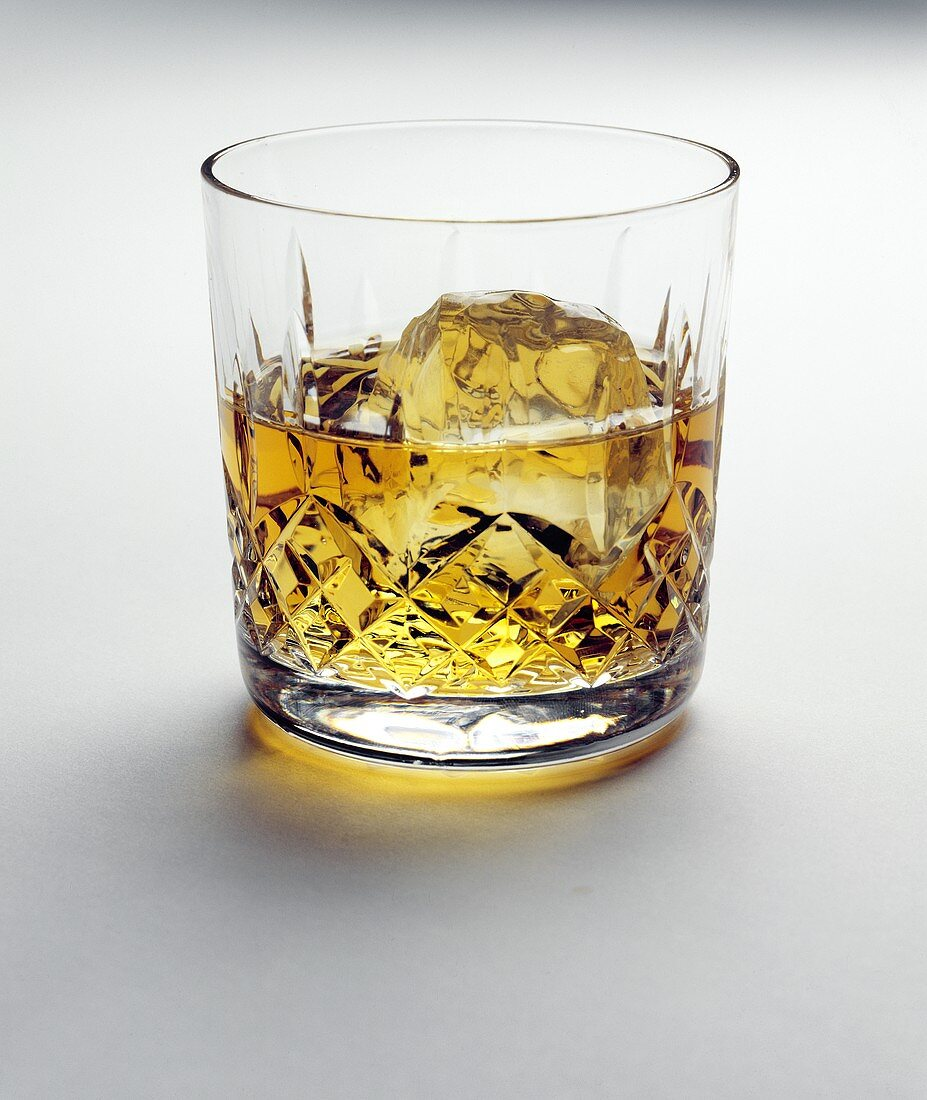 Scotch on the Rocks in a Cut Crystal Glass