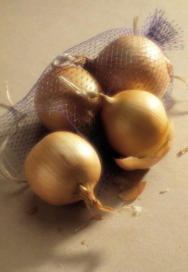 A Purple Net Bag of Yellow Onions