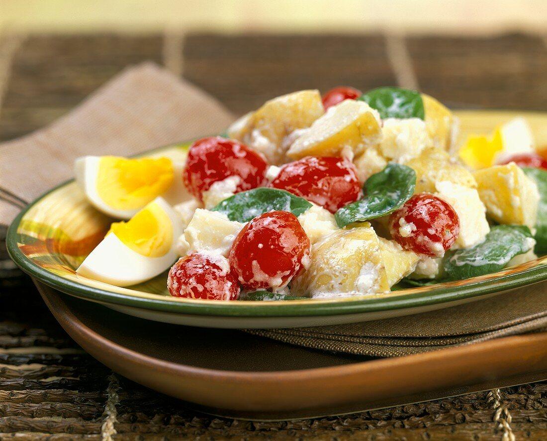 Potato salad with cherry tomatoes, basil and mayonnaise